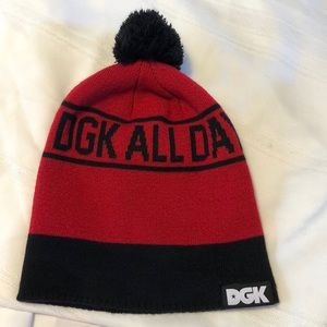 DGK All day red black beanie hat EUC winter